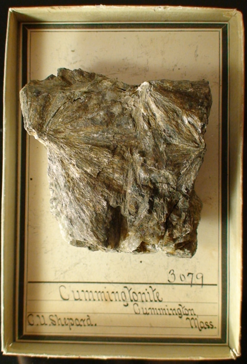 Cummingtonite with label from original find