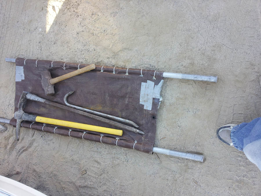 tools needed for collecting halite on the salt deposit in Trona California