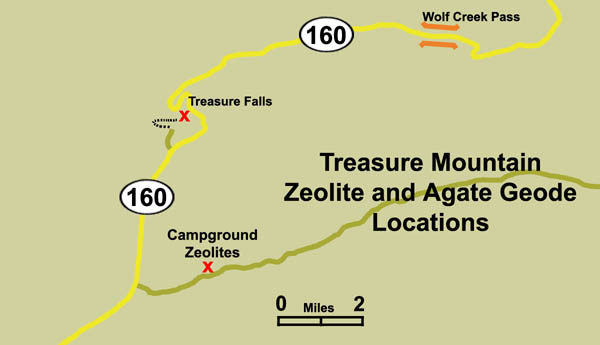 Map of the Treasure Creek Agate and Zeolite location